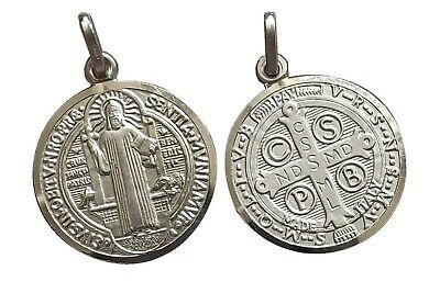 St Saint Benedict Pendant Oxidize 925 Sterling Silver Medal Charm 0.9 inches