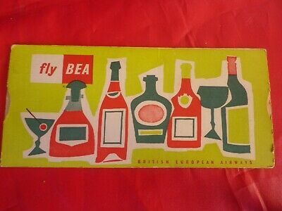 British European Airways 1956 Table  Cocktails How To Mix / Fly Bea Collector