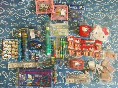Lotto Sanrio Cartoleria Vintage Gommine Anni 90 Hello Kitty Pekkle Keroppi New