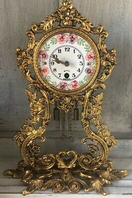Vintage Antique Ornate Brass Enamel Pansy Face Wintermantel Clock Sit Hang Key