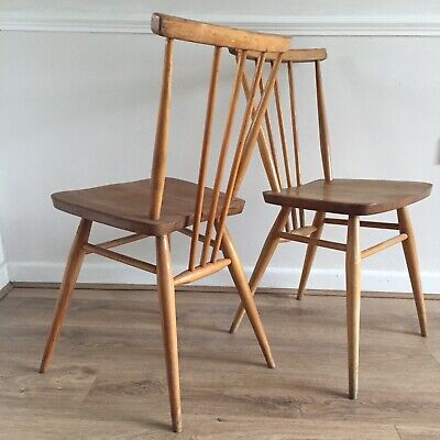 2 x Ercol Blonde All Purpose Kitchen Stick Back Chairs Model 391 (2056) Vintage
