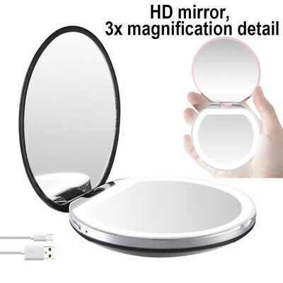 LED Lighted Makeup Mirror Travel Pocket Mirrors Dual-side 1/3X Magnifying Mirror