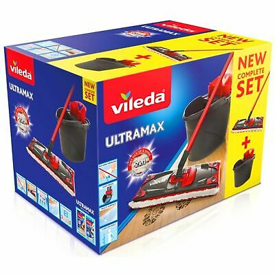 Vileda UltraMax Flat Floor Mop and Bucket Set Microfibre 2-in-1 Complete Set