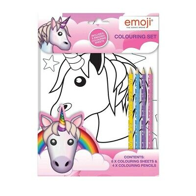 Emoji Unicorn Colouring Set Picture Sheets Pencil Crayons Branded Travel Pack