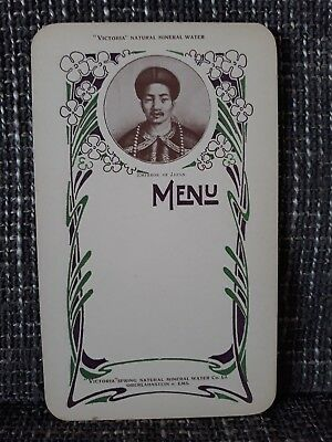 MENU - Victoria Natural Mineral Water - Années 1900 - Emperor of Japan