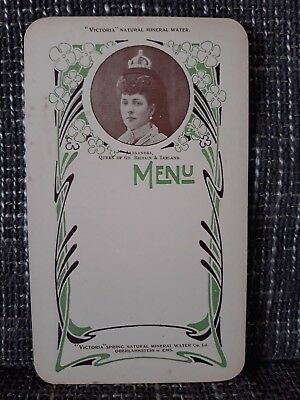 MENU - Victoria Natural Mineral Water - Années 1900 - Queen Alexandra