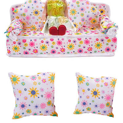 HK- Mini Furniture Sofa Couch +2 Cushions For Barbie Doll House Accessories G17