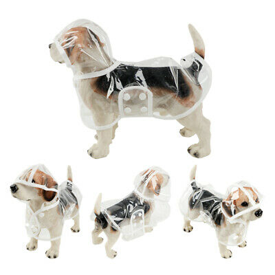 Dog Rain Coat Puppy PVC Waterproof Clear Transparent Jacket Hooded Rainwear