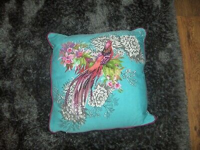 cushion with peacock light  torqoise 15in x15in vgc only been on chair for show