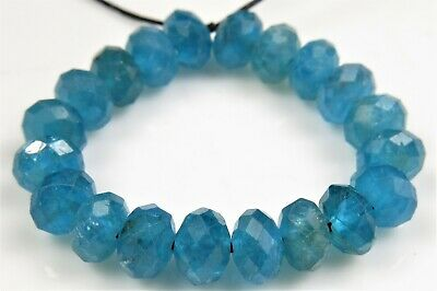 High Grade Natural Blue Apatite Faceted Rondelle - 6mm x 4mm ~ 20 beads ~ 7270A