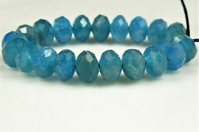 High Grade Natural Blue Apatite Faceted Rondelle - 6mm x 4mm ~ 20 beads ~ 7275A