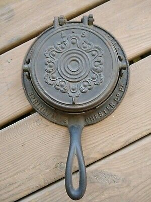 Antique Cast Waffle Iron Springville PA 1867 Chester County - Spring City - #2