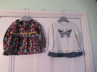 9-12m: 2 pretty tops: Brown birds & flowers/Denim butterfly: Next/M&S: Good cond