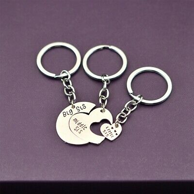 Heart Pendant Big Middle Little Sister Silver Keyring Friendship Key Chain