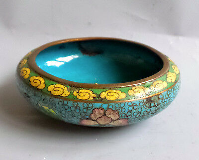 Antique Old Authentic Oriental Asia Chinese Cloisonne Enamel Floral Tray China