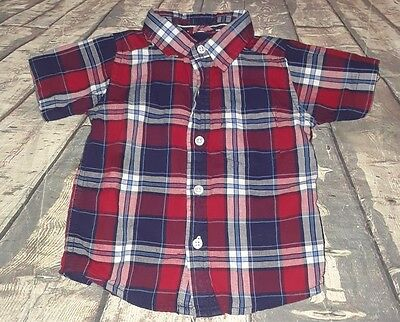 Childrens place red white blue checkered short sleeve button up top 6/9 months