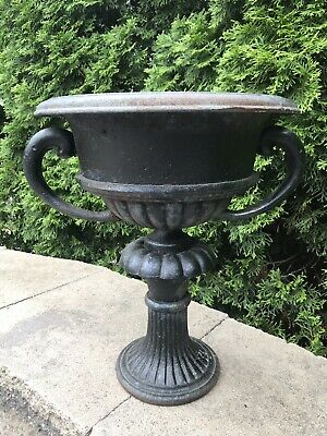 Antique French Cast Iron Urn Jardiniere Planter Floral Motif with Handles