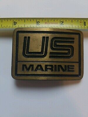 US Marine Solid Brass Belt Buckle by DynaBuckle Vintage Antique
