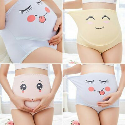 High Waist Belly Support Pregnant Women Underwear Cartoon Face Pattern Panties
