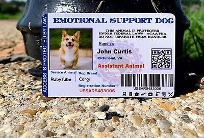 EMOTIONAL SUPPORT CARD CAT - DOG - ANIMAL - ESA SERVICE CARD Customized 2019