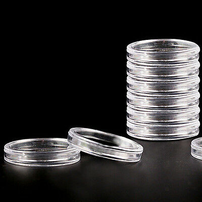 10X 40mm Applied Clear Round Case Coin Storage Capsules Holder Plastic Reusab MO
