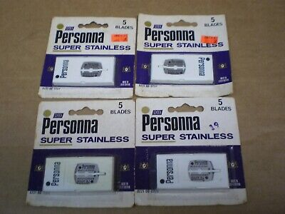 Vintage Lot Personna Super Stainless Double Edge Safety Razor Blades 4 Pkgs Nos