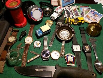 Men's Junk Drawer Lot: Knives, Watches, Gossen, Majorette, Cards, UFS 1575,