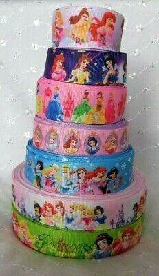 cakes HAIR bows 1m DISNEY PRINCESS IN THE MAKING GROSGRAIN RIBBON 22mm wide