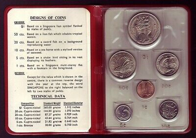 SINGAPORE • 1967 • New Coin Issue • Uncirculated Set in Wallet