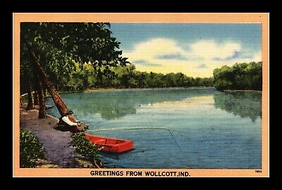 Dr Jim Stamps Us Wollcott Indiana Fishing Lake View Linen Postcard Tichnor