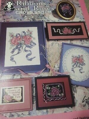 Victorian RIBBONS AND ROSES HEIRLOOM CHINTZ FLORALS CROSS STITCH 1988 BOOKLET