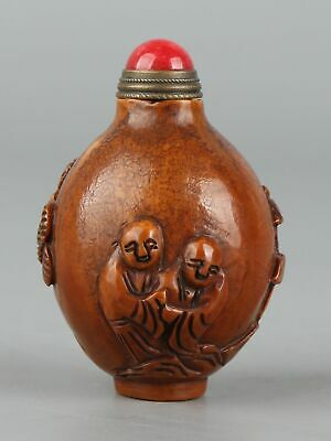 Chinese Exquisite Handmade landscape people Olive nucleus snuff bottle