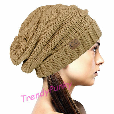 Bubble Knit Slouchy CC Baggy Beanie Oversize Winter Hat Skully Cap - Taupe Beige