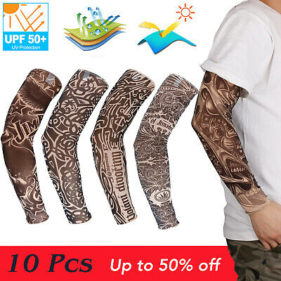 10 Pcs Temporary Tattoo Arm Sleeve Cover Cooling UV Protection Outdoor Sport Men