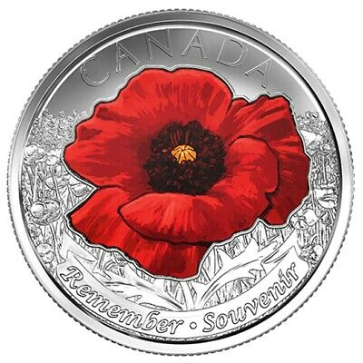 2015 CANADA 25 Cent RED Poppy 'REMEMBER' BU Quarter From Mint Roll UNC