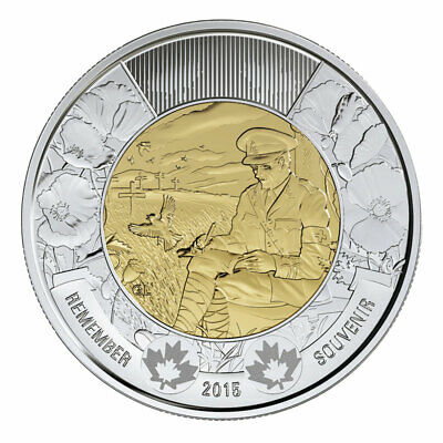 2015 CANADA BU 2 Dollar REMEMBER Toonie Coin From Mint Roll UNC