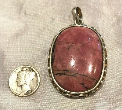 "Black Manganese In Rhodonite Sterling Silver Alluring 2"" Pendant Signed 925"