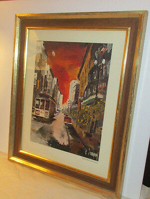 Vintage Framed Print of Powell Street & Cable Car San Francisco by G. Soubeyran