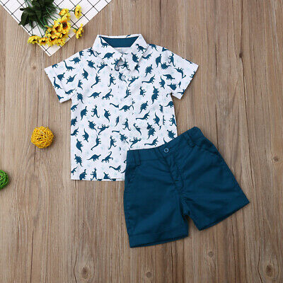US 2pcs Toddler Baby Boy Clothes Dinosaur T-shirt Tops+Short Pants Summer Outfit