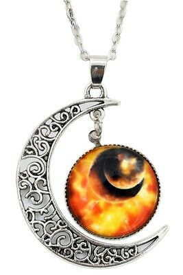 Women Galactic Glass Cabochon Pendant Crescent Moon Necklace(Color numbers: W9R1