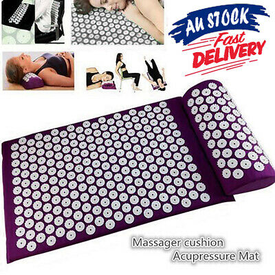 Acupressure Massage Mat Stress/Pain/Tension Body relax Relief Pillow with for