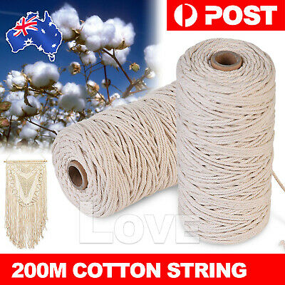 200m 3mm Natural Cotton Rope Cord String Twisted Beige Craft Macrame Artisan AU