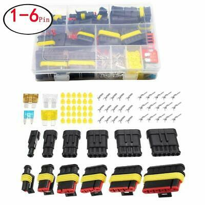 Waterproof Car Auto Electrical Wire Connector Plug Kit 1-6 Pin Way + Blade Fuses