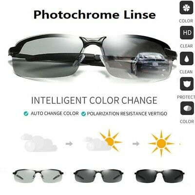 Men's Photochromic Sunglasses with Polarized Lens for Outdoor 100% UV New