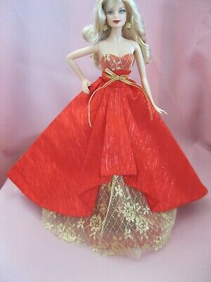 Barbie Clothes Dress Gown - Red And Gold Holiday Gown  (Doll Not Included)