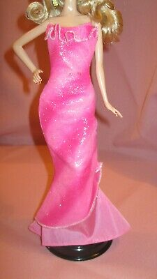 Barbie Clothes Dress Gown - Pink Glitter Fitted (Doll Not Included)