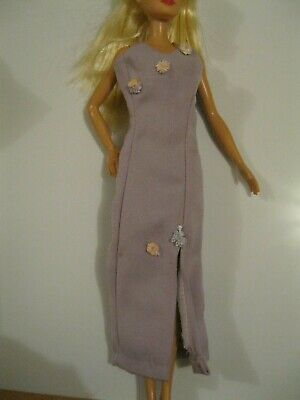 Barbie Clothes Dress Gown - Vintage Lilac With Flowers (Doll Not Included)