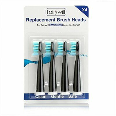 4 x Fairywill Electric Toothbrush Replacement Head Soft Bristle Black Series