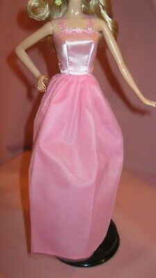 Barbie Clothes Dress Gown - Pink With Flower Straps (Doll Not Included)