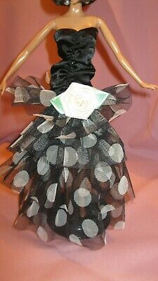 Barbie Clothes Dress Gown - Black Fitted With Tiers (Doll Not Included)
